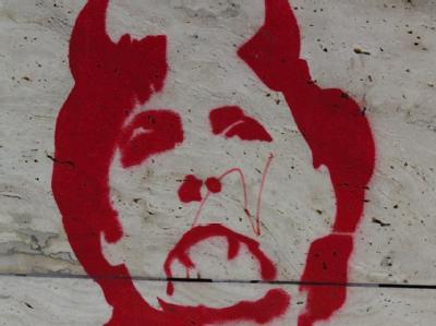 Anti-Merkel-Graffiti in Thessaloniki