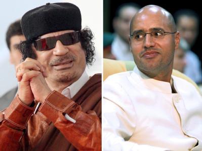 Gegen Libyens Machthaber Al-Gaddafi (l) und seinen Sohn Saif al-Islam al-Gaddafi wurden Haftbefehle erlassen.