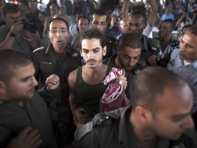 Pro-pal�stinensische Aktivisten am Ben-Gurion Flughafen