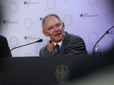 Finanzminister Schäuble beim Treffen der EU-Finanzminister in Brüssel.