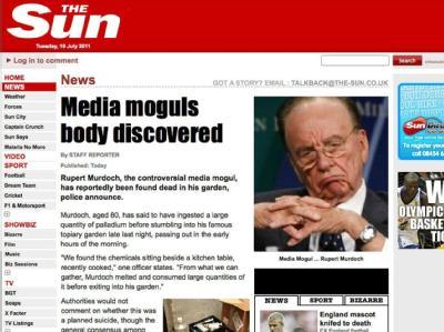 Gehackte «The Sun»-Webseite, auf der eine gefälschte Todesmeldung des Medienmoguls Rupert Murdoch platziert wurde.