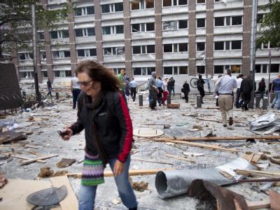 Ein Bild der Verwüstung: die Bombe explodierte im Regierungsviertel von Oslo.