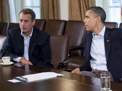 US-Präsident Obama bei einem Krisentreffen mit dem republikanischen Spitzenpolitiker John Boehner.