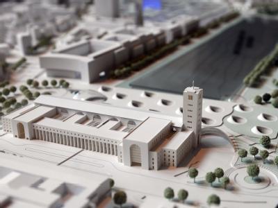Ein Modell im Rathaus in Stuttgart zeigt den Hauptbahnhof und das Nachbargelände.
