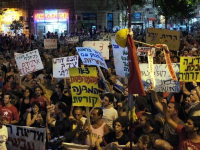 Protest in Jerusalem gegen hohe Mieten und soziale Ungerechtigkeiten.