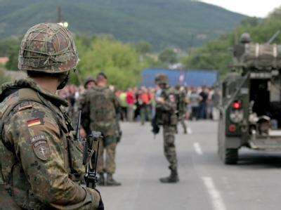 Stra�enblockade im Kosovo