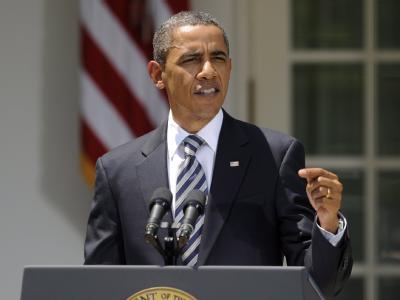US-Präsident Barack Obama spricht im Rosengarten des Weißen Hauses zum Schulden-Kompromiss.