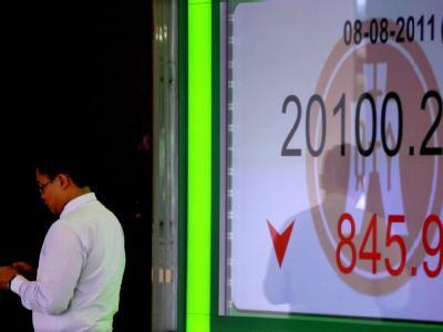 Anzeige des Hang-Seng-Index an einer Bank in Hong Kong.