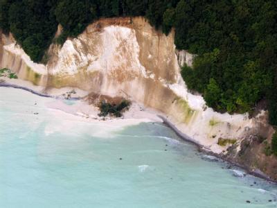 Milchig trüb ist das Wasser der Ostsee nach einem Kreideabbruch auf der Insel Rügen, Bäume liegen vor dem Felsen im Wasser.