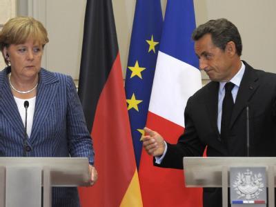 Angela Merkel und Nicolas Sarkozy bei der Präsentation der Gipfel-Ergebnisse.