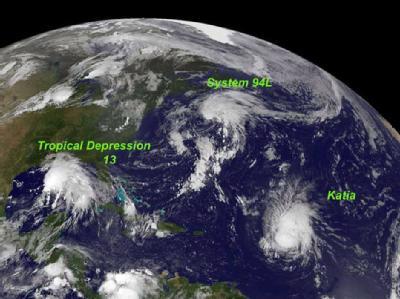 Die Behörden fürchten, das sich nur langsam bewegende Sturmsystem Lee (Tropical Depression 13) könne heftige Überflutungen in New Orleans auslösen.