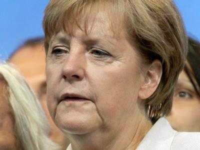 Bundeskanzlerin Angela Merkel (CDU) bei ihrem letzen Wahlkampfauftritt in Mecklenburg-Vorpommern am Freitag. Alle weiteren Termin hat die Kanzlerin abgesagt.