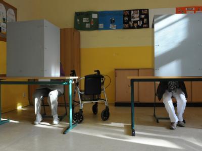Wahllokal in der Erich-Weinert-Schule in Schwerin: Zur Landtagswahl in Mecklenburg-Vorpommern sind 1,39 Millionen Wahlberechtigte aufgerufen.