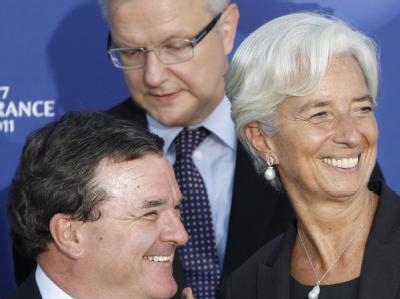 G7-Finanzministertreffen in Marseille: IWF-Direktorin Christine Lagarde, der kanadische Finanzminister Jim Flaherty (l) und EU-Währungskommissar Olli Rehn.