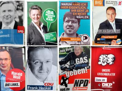Verschiedene Wahlplakate pflastern zur Zeit die freien Flächen von Berlin.