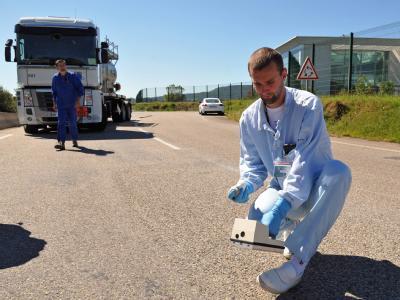 Strahlenmessung nach dem Unfall in der Atommüll-Anlage.