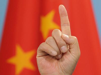 Der Finger des chinesischen Premierministers Wen Jiabao.
