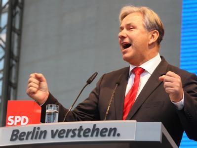 Der Regierende Bürgermeister und Spitzenkandidaten der SPD, Klaus Wowereit, bei der Abschlussveranstaltung des SPD-Wahlkampfes.
