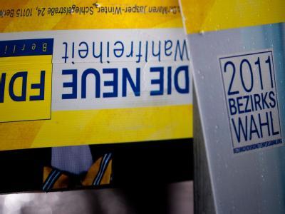 Abgestürzt: Ein FDP-Wahlplakat in Berlin.