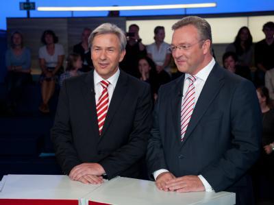 Auch ein rot-schwarzes Bündnis ist möglich: Klaus Wowereit (SPD) und Frank Henkel (CDU) beim TV-Duell.