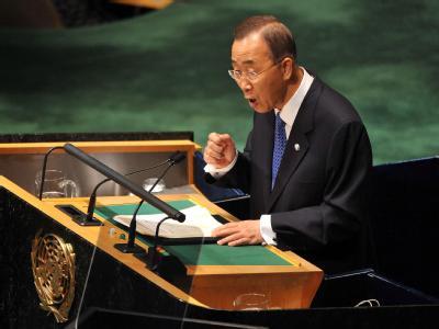 Er unterstütze einen palästinensischen Staat in friedlicher Nachbarschaft neben einem sicheren Israel, sagt UN-Chef Ban Ki Moon.
