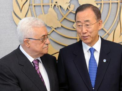 Abbas und Ki Moon