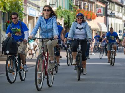 Nur eine fährt mit Helm: Wenn sich der Kopfschutz nicht durchsetzt, droht das Verkehrsministerium mit Helmpflicht. Archivfoto: Uwe Anspach