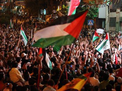 In den Palästinensergebieten verfolgten Tausende die Reden von Abbas und Netanjahu.