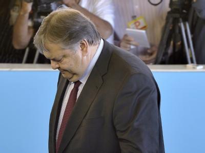 Griechenlands Finanzminister Evangelos Venizelo beim Treffen der Euro-Finanzminister in Luxemburg.