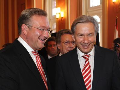Kommen womöglich sehr bald ins Gespräch: Frank Henkel (CDU) und Klaus Wowereit (SPD).