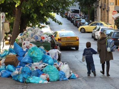 Streik der Müllabfuhr in Athen