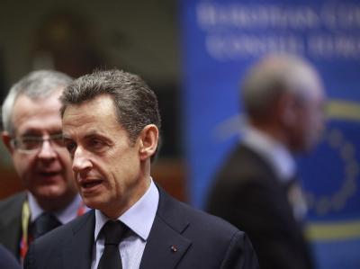 Frankreichs Präsident Nicolas Sarkozy am Sonntag in Brüssel. Foto: Olivier Hoslet, epa