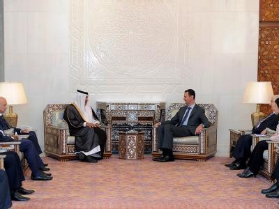 Arabische Außenminister beim syrischen Machthaber Baschar al-Assad.
