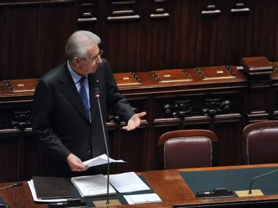 Italiens neuer Ministerpräsident Monti stellt sein Regierungsprogramm vor. Foto: Maurizio Brambatti