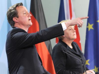 Bundeskanzlerin Angela Merkel und der britische Premierminister David Cameron im Bundeskanzleramt in Berlin. Foto: Rainer Jensen