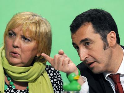 Die Bundesvorsitzenden von Bündnis 90/Die Grünen, Claudia Roth und Cem Özdemir. Foto: Marcus Brandt