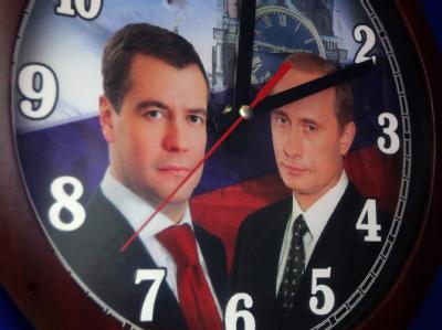 Rund 110 Millionen Russen sind zur Wahl eines neuen Parlaments aufgerufen. Die Wahl gilt auch als erster Schritt für den zwischen Wladimir Putin und Kremlchef Dmitri Medwedew geplanten Ämtertausch. Foto: Maxim Shipenkov