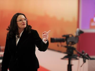 SPD-Generalsekretärin Andrea Nahles vor Beginn des Bundesparteitags in Berlin. Foto: Hannibal