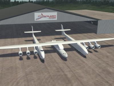 Undatiertes Computerbild zeigt die Vision des bisher größten Flugzeuges auf der Welt, von dem aus Satelliten oder auch Raumfahrzeuge gestartet werden sollen. Foto: Stratolaunch