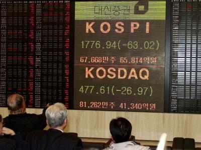 Börsenhändler verfolgen die Entwicklung an der südkoreanischen Börse. Foto: Kim Hee Chul