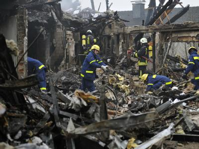 Eine Explosion hat ein Wohnhaus im westfälischen Rödinghausen völlig zerstört. Foto: Marius Becker