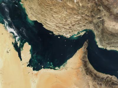 Der Persische Golf, die Straße von Hormus und der Golf von Oman in einer Satellitenaufnahme. Foto: NASA/The Visible Earth
