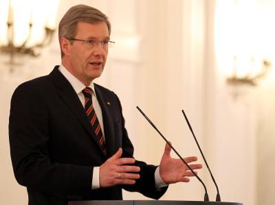 Bundespräsident Christian Wulff vor der Presse im Schloss Bellevue: Wulff hatte sich für seinen bisherigen Umgang mit der Kreditaffäre entschuldigt. Foto: Wolfgang Kumm