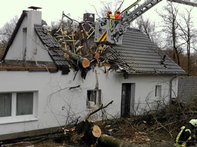 Arbeiter zersägen in Wuppertal einen Baum, der in das Dach eines Hauses gestürzt ist. Orkan «Ulli» hat Deutschland ordentlich durchgewirbelt, doch größere Schäden blieben aus. Am Donnerstag fegt schon der nächste Orkan durchs Land. «Andrea» soll noch stär