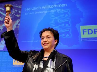 Landeschefin Homburger eröffnet den FDP-Landesparteitag. Foto: Bernd Weißbrod