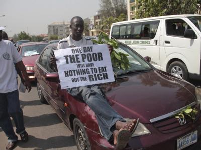 Millionen Nigerianer folgten dem Aufruf nach einem Generalstreik aus Protest gegen die Streichung von Subventionen auf Benzin. Foto: George Esiri