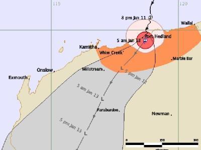 Die Karte zeigt den voraussichtlichen Weg von Zyklon «Heidi» über Westaustralien. Foto: Australian Bureau of Meteorology