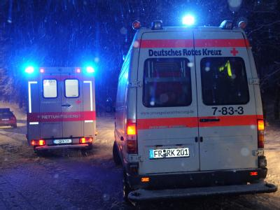 Rettungswagen im Schneegestöber. In dem am Unfall beteiligten Bus wurden zwölf Menschen verletzt. Foto: Patrick Seeger