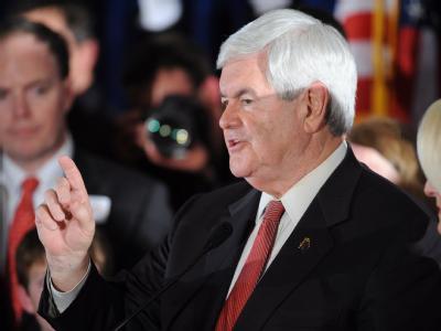 Newt Gingrich feiert seinen Sieg in South Carolina. Foto: Erik S. Lesser