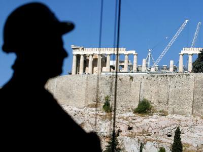 Arbeiter vor der Akropolis